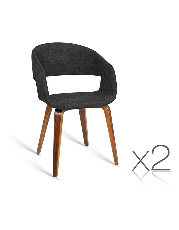 Set Of 2 Timber Wood And Fabric Dining Chairs image 1