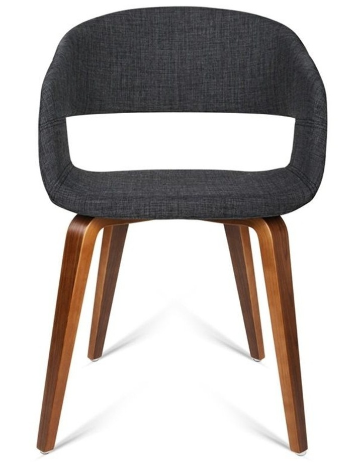 Set Of 2 Timber Wood And Fabric Dining Chairs image 3