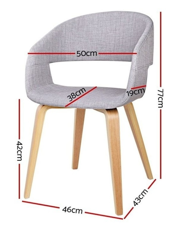 Artiss Set of 2 Timber Wood and Fabric Dining Chairs - Light Grey image 2