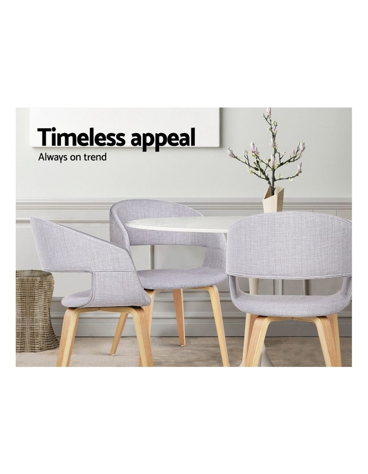 Artiss Set of 2 Timber Wood and Fabric Dining Chairs - Light Grey image 4