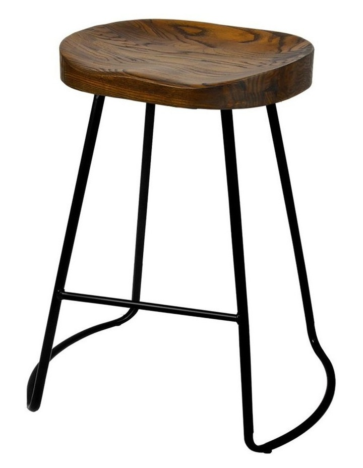 Set Of 2 Wooden Backless Bar Stools image 1