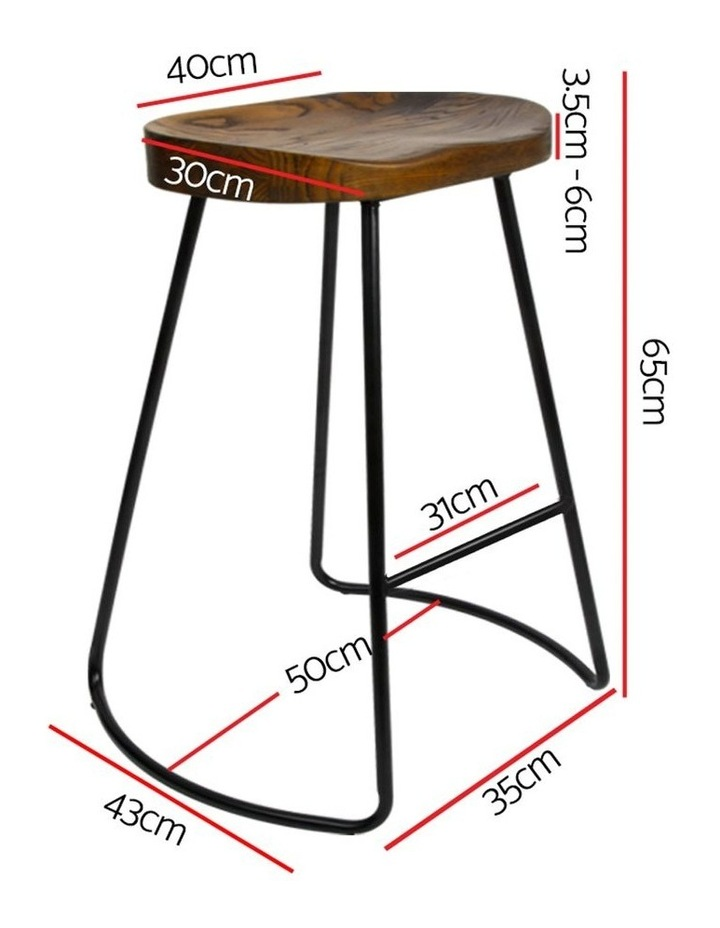Set Of 2 Wooden Backless Bar Stools image 2