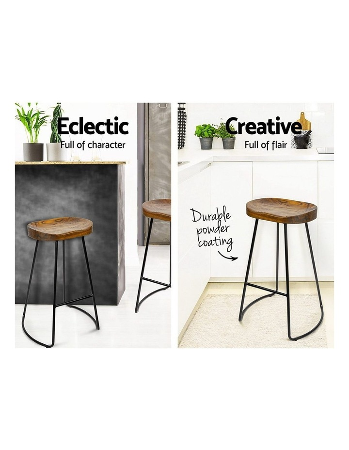 Set Of 2 Wooden Backless Bar Stools image 4