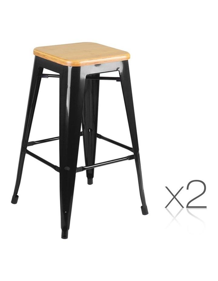 Set Of 2 Wooden Backless Bar Stools image 1