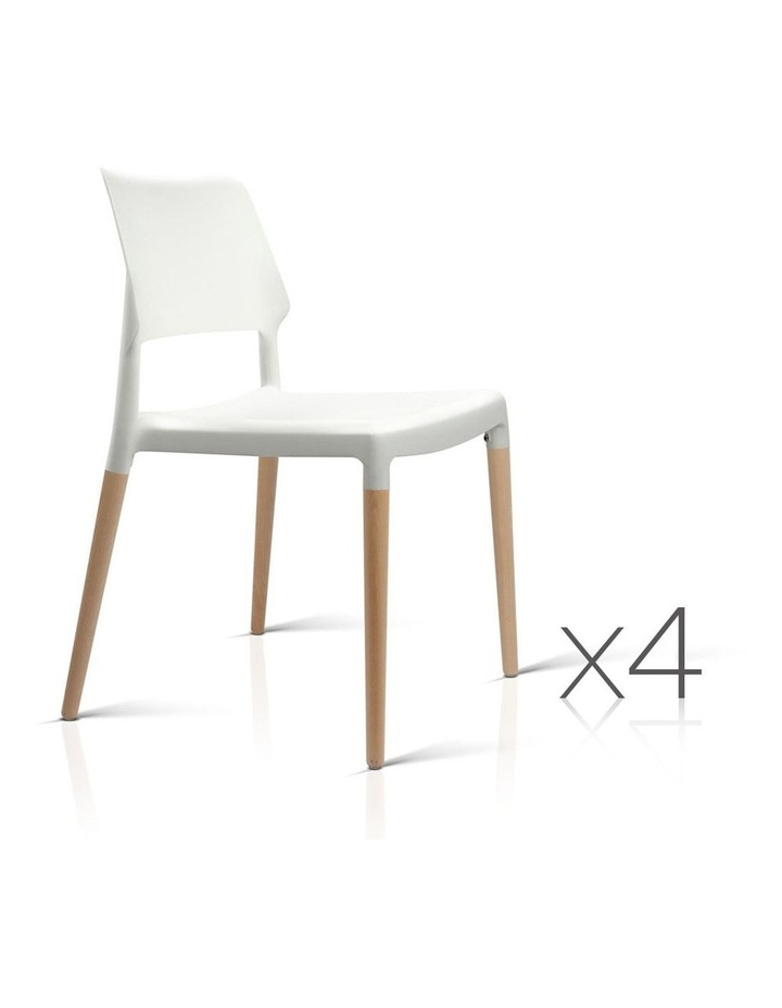 Set Of 4 Wooden Stackable Dining Chairs image 1