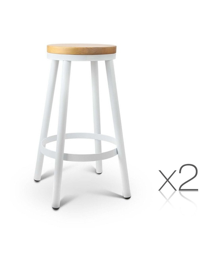 Set Of 2 Wooden Stackable Bar Stools image 1