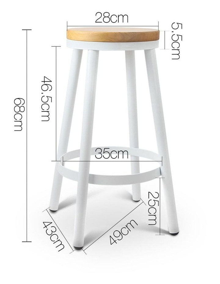 Set Of 2 Wooden Stackable Bar Stools image 2