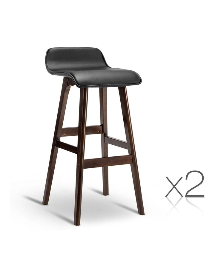 Pu Leather And Wood Bar Stool image 1