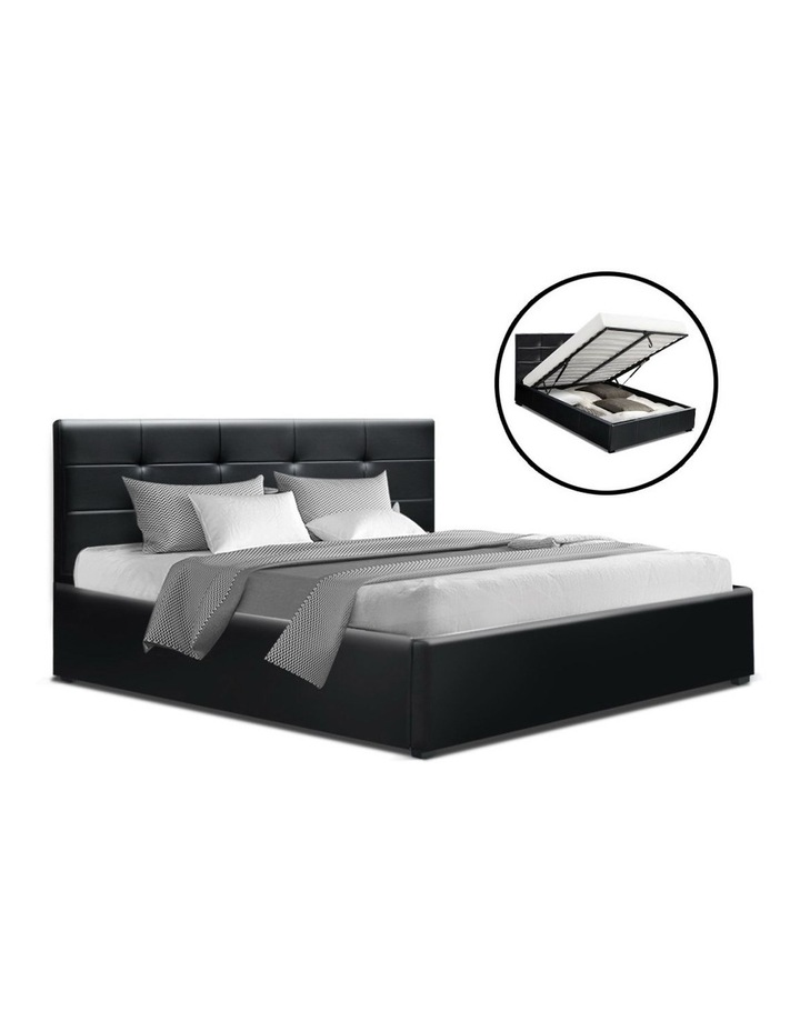 LISA Double Full Size Gas Lift Bed Frame Base With Storage Mattress Black Leather image 1