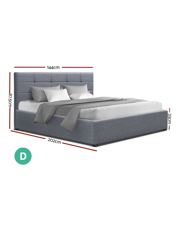 LISA Double Full Size Gas Lift Bed Frame Base With Storage Mattress Grey Fabric image 2