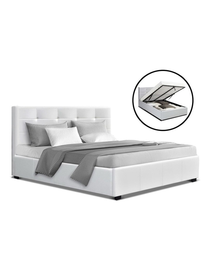 LISA Double Full Size Gas Lift Bed Frame Base With Storage Mattress White Leather image 1