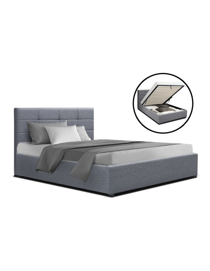 LISA King Single Size Gas Lift Bed Frame Base With Storage Mattress Grey Fabric image 1