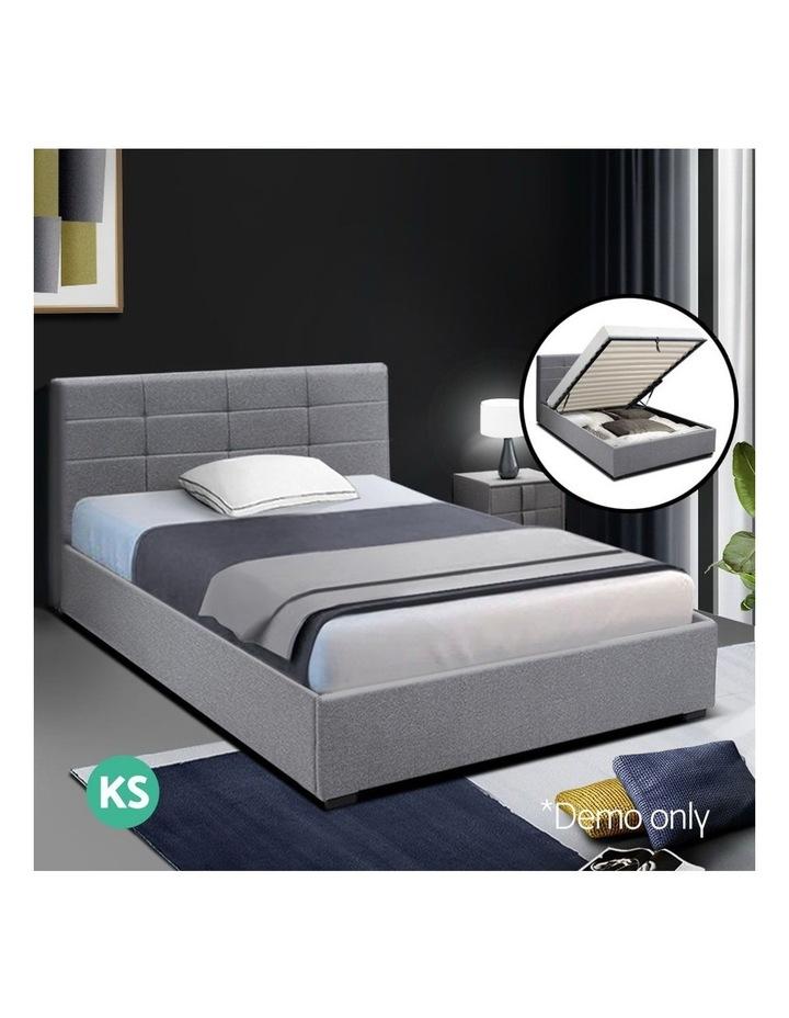 LISA King Single Size Gas Lift Bed Frame Base With Storage Mattress Grey Fabric image 3