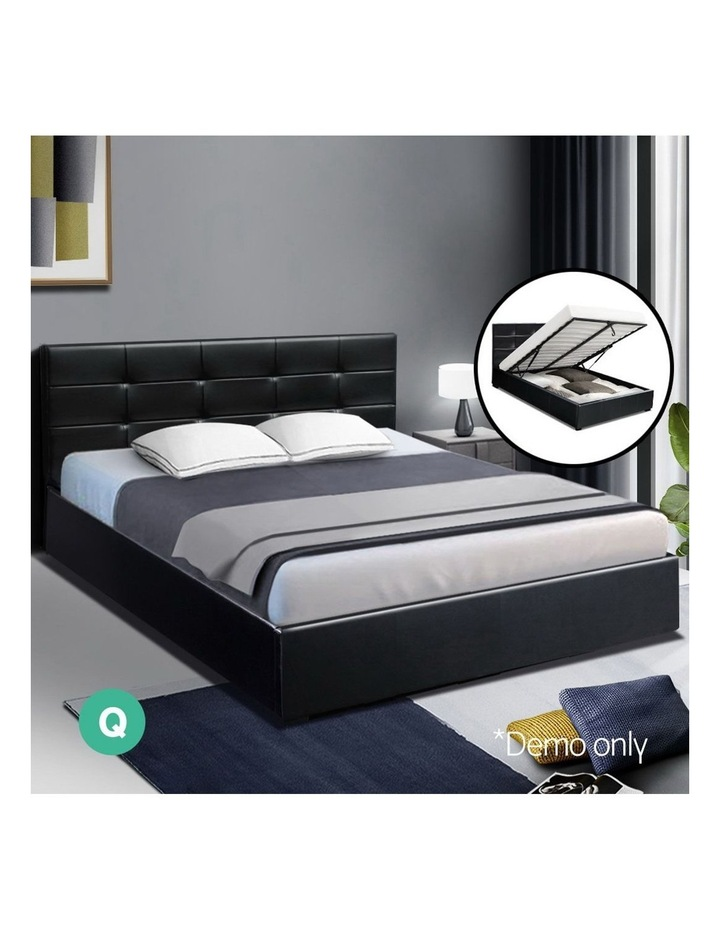 LISA Queen Size Gas Lift Bed Frame Base With Storage Mattress Black Leather image 3
