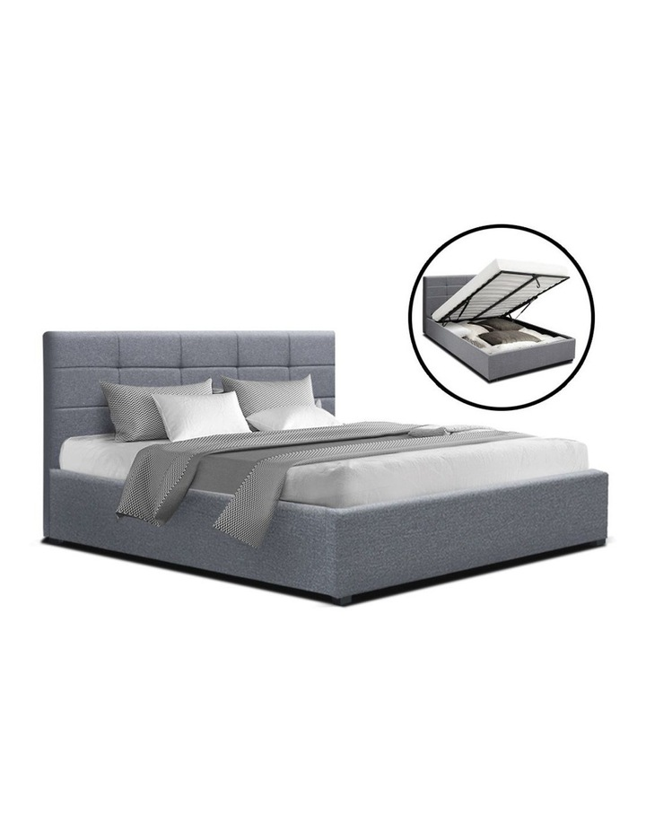 LISA Queen Size Gas Lift Bed Frame Base With Storage Mattress Grey Fabric image 1