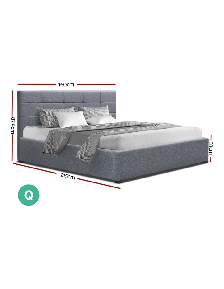 LISA Queen Size Gas Lift Bed Frame Base With Storage Mattress Grey Fabric image 2