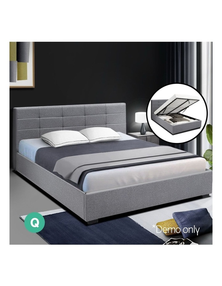 LISA Queen Size Gas Lift Bed Frame Base With Storage Mattress Grey Fabric image 3
