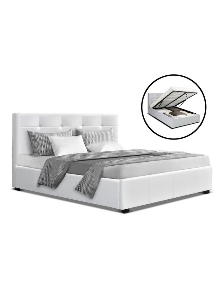 LISA Queen Size Gas Lift Bed Frame Base With Storage Mattress White Leather image 1