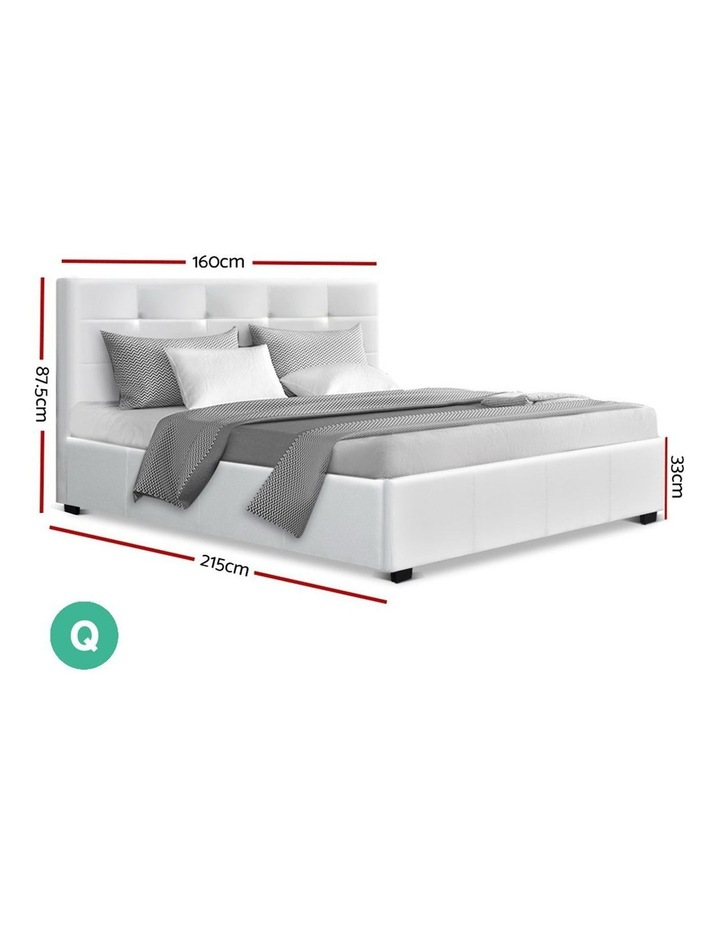 LISA Queen Size Gas Lift Bed Frame Base With Storage Mattress White Leather image 2