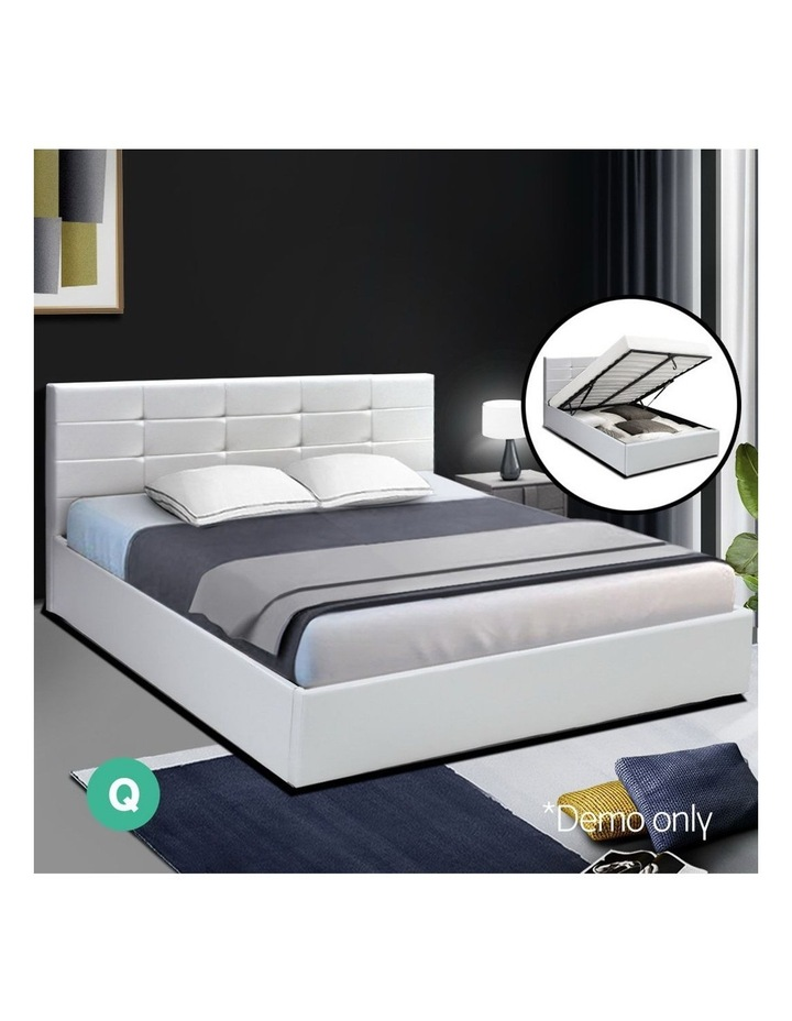 LISA Queen Size Gas Lift Bed Frame Base With Storage Mattress White Leather image 3