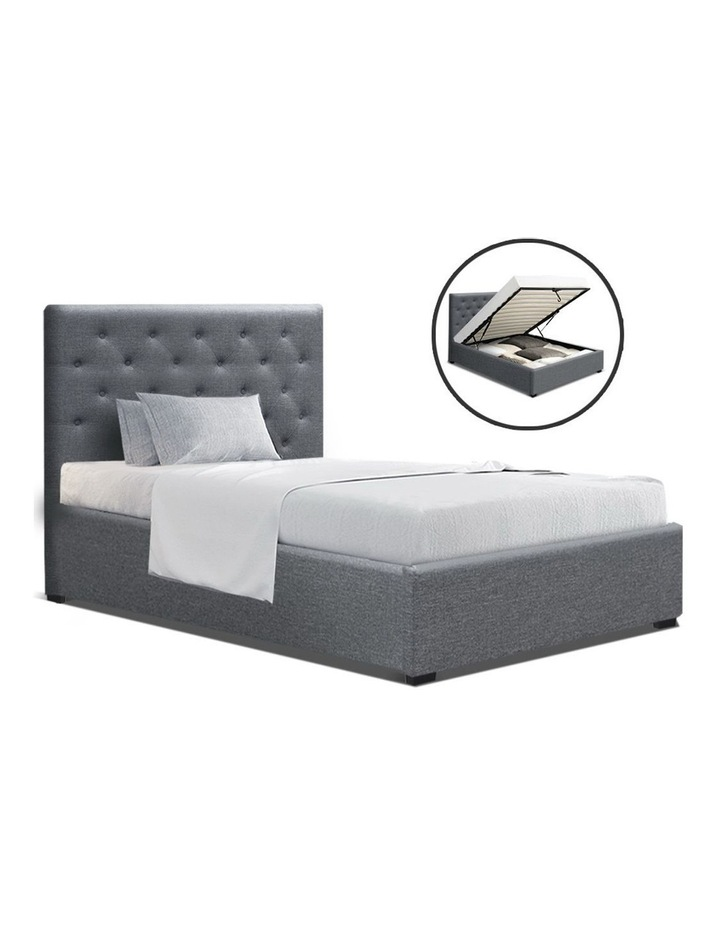 VILA King Single Size Gas Lift Bed Frame Base With Storage Mattress Grey Fabric image 1