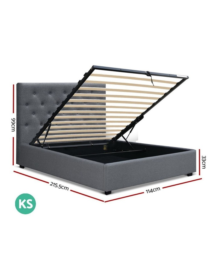 VILA King Single Size Gas Lift Bed Frame Base With Storage Mattress Grey Fabric image 2