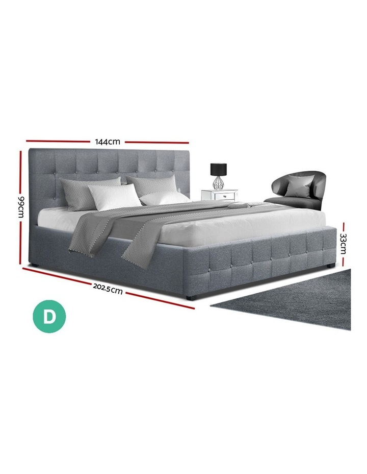 ROCA Double Full Size Gas Lift Bed Frame Base With Storage Mattress Grey Fabric image 2