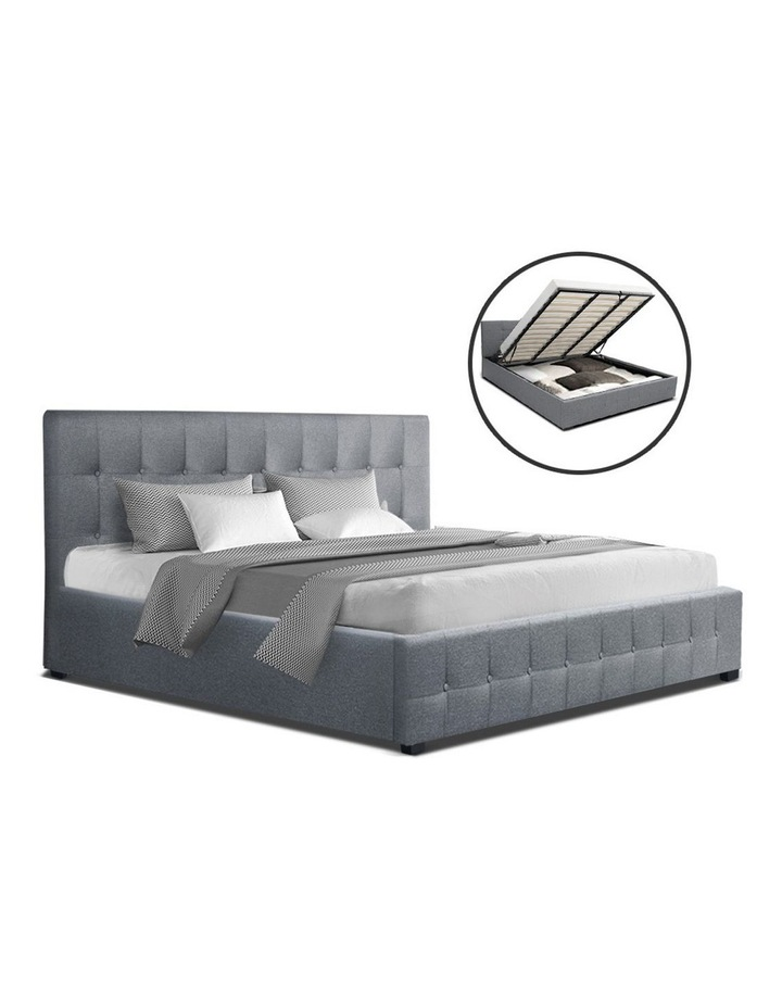 ROCA King Size Gas Lift Bed Frame Base With Storage Mattress Grey Fabric image 1