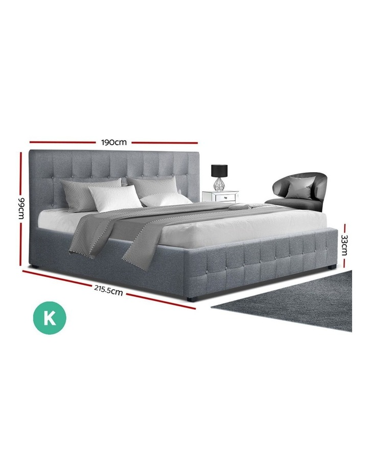 ROCA King Size Gas Lift Bed Frame Base With Storage Mattress Grey Fabric image 2