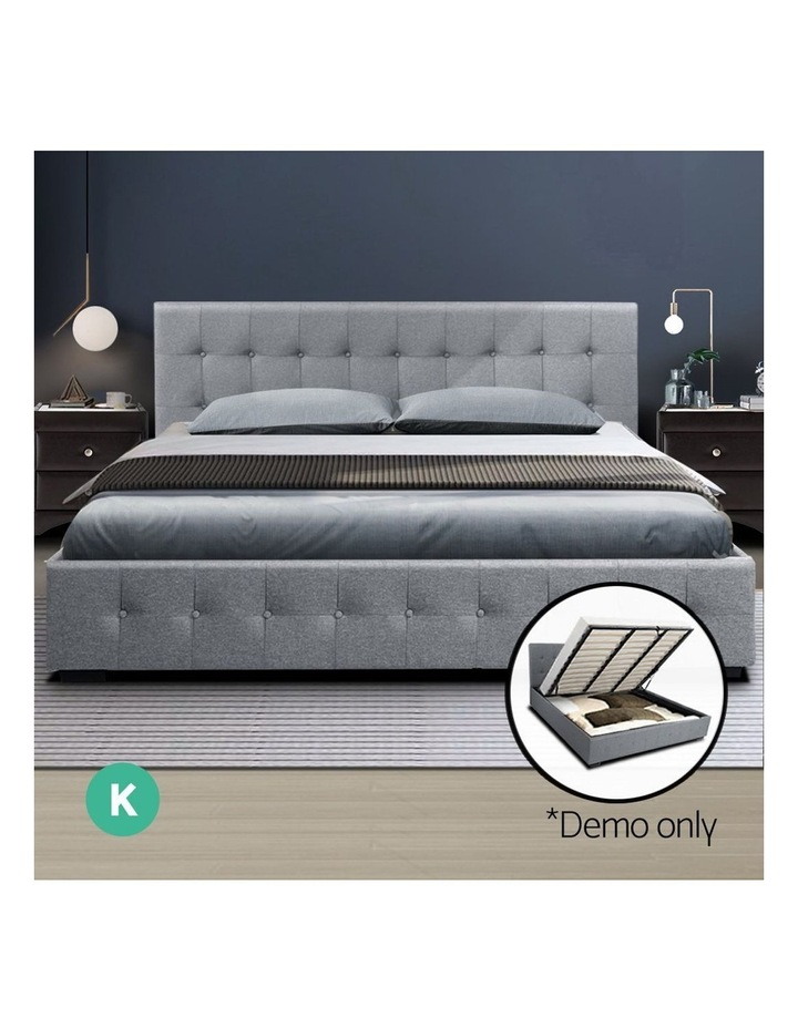 ROCA King Size Gas Lift Bed Frame Base With Storage Mattress Grey Fabric image 3