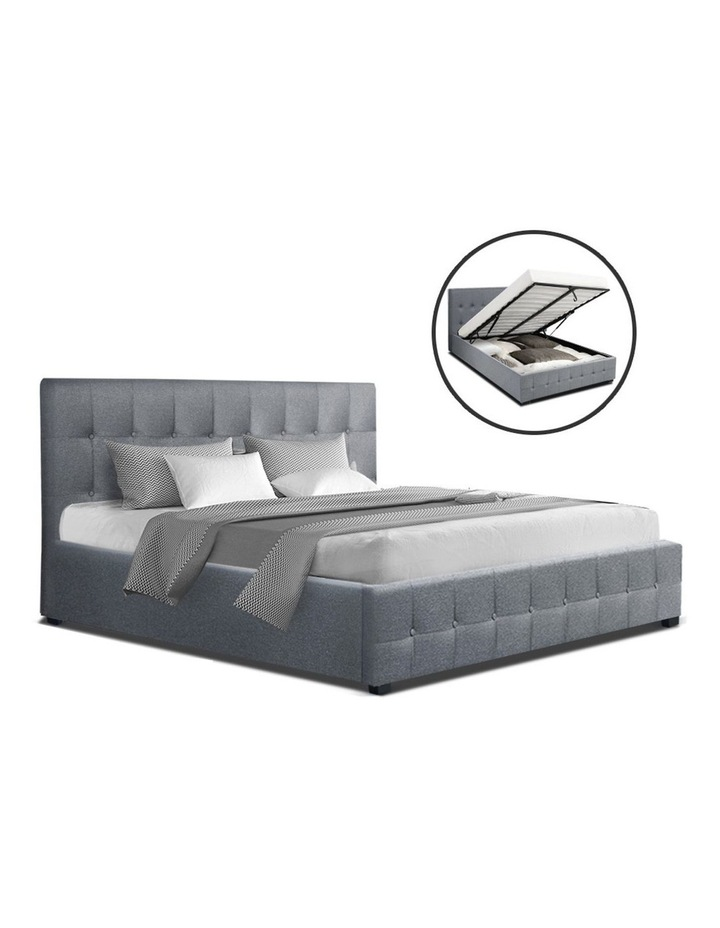 ROCA Queen Size Gas Lift Bed Frame Base With Storage Mattress Grey Fabric image 1
