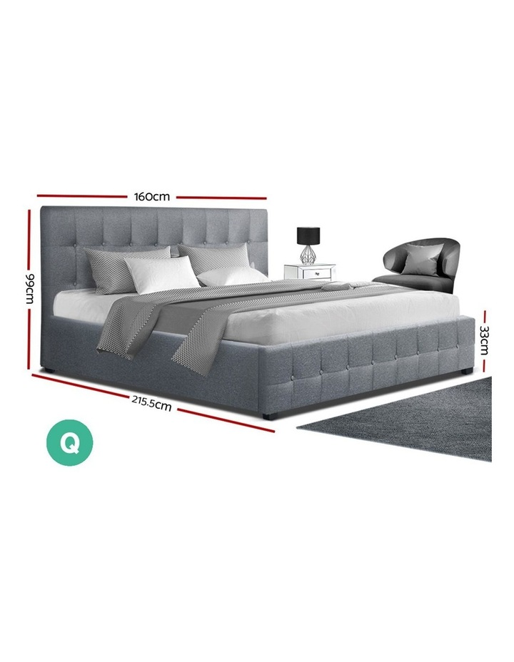 ROCA Queen Size Gas Lift Bed Frame Base With Storage Mattress Grey Fabric image 2