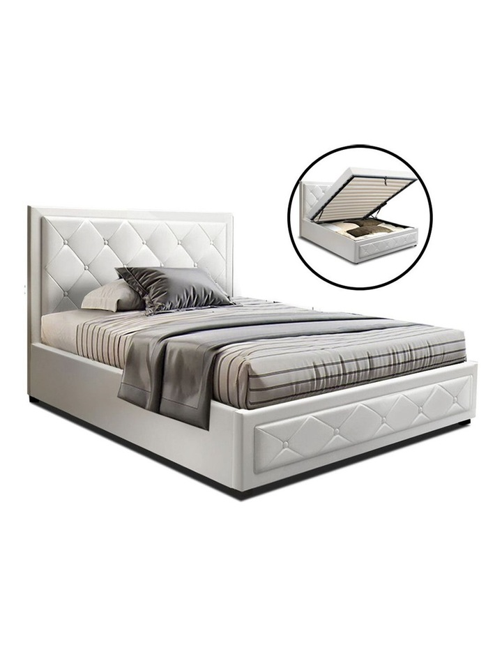 TIYO King Single Size Gas Lift Bed Frame Base With Storage Mattress White Leather image 1