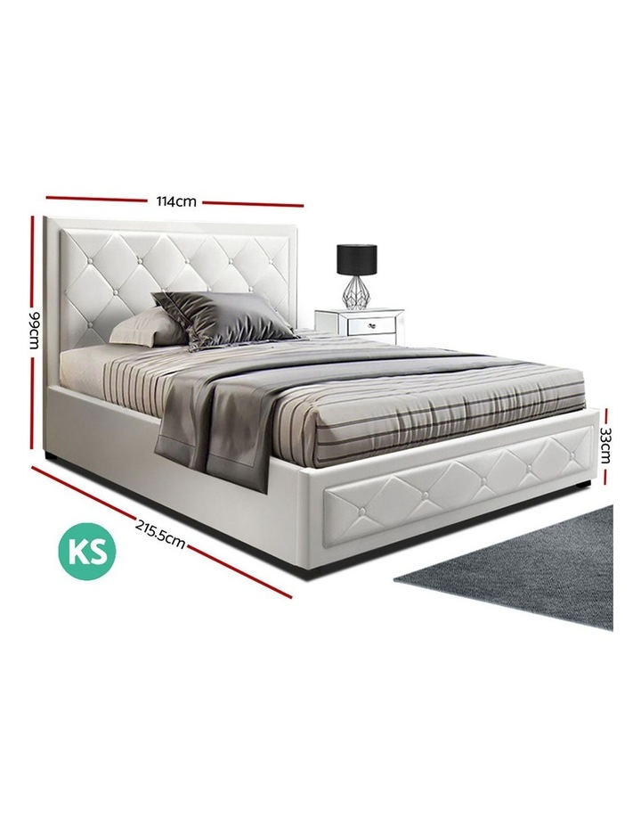 TIYO King Single Size Gas Lift Bed Frame Base With Storage Mattress White Leather image 2