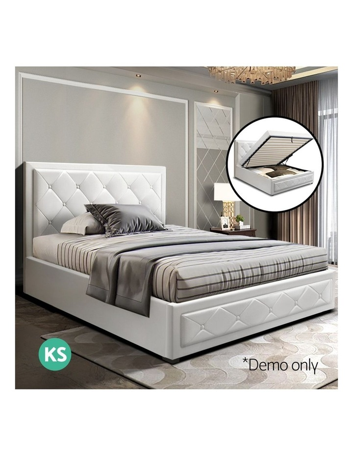 TIYO King Single Size Gas Lift Bed Frame Base With Storage Mattress White Leather image 3
