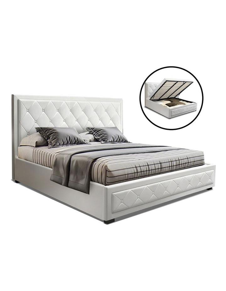 TIYO King Size Gas Lift Bed Frame Base With Storage Mattress White Leather image 1