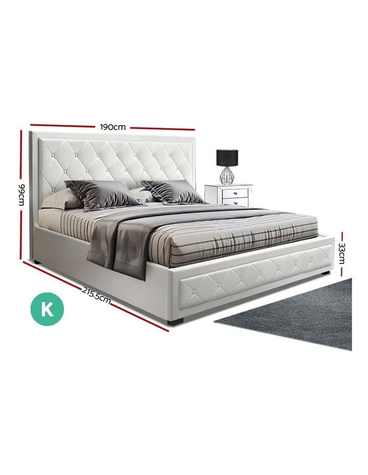 TIYO King Size Gas Lift Bed Frame Base With Storage Mattress White Leather image 2