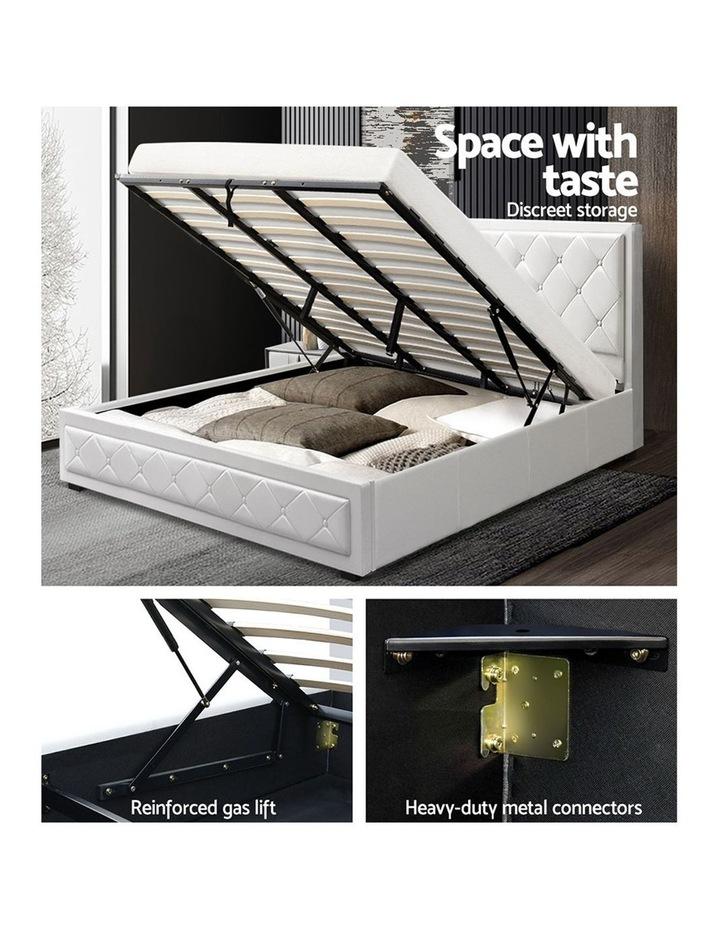 TIYO King Size Gas Lift Bed Frame Base With Storage Mattress White Leather image 4