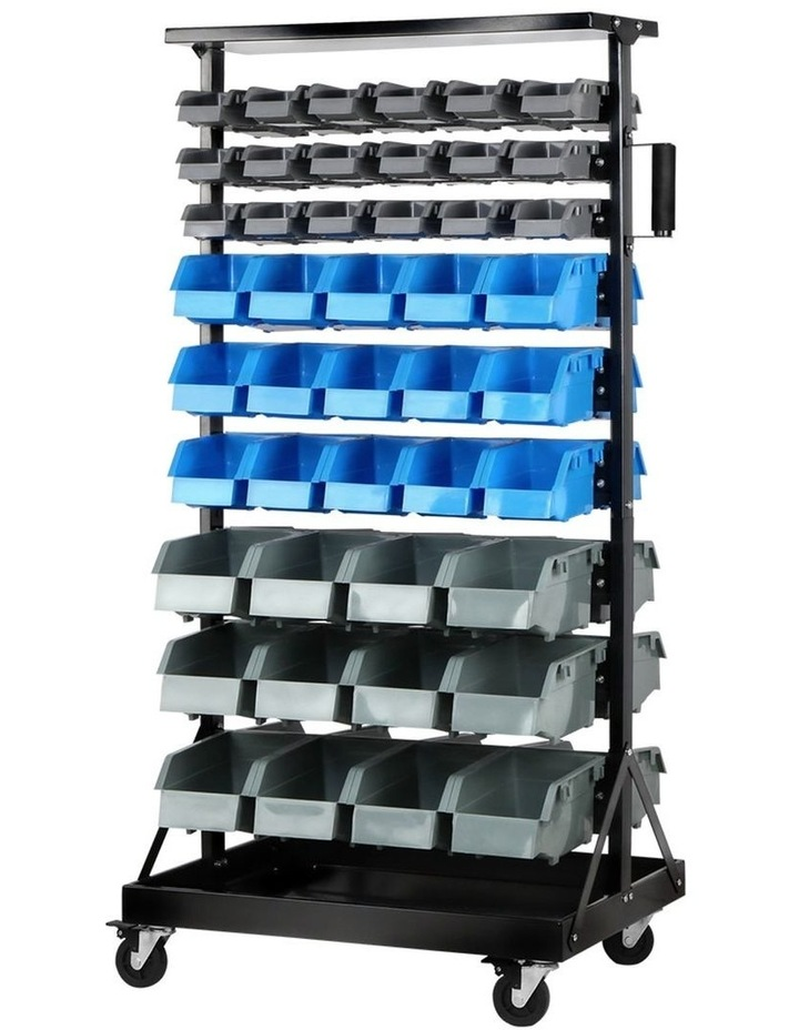 Giantz 90 Bins Storage Rack Warehouse Work Garage Tools Parts Shelving Wheels image 1