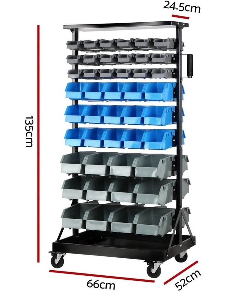 Giantz 90 Bins Storage Rack Warehouse Work Garage Tools Parts Shelving Wheels image 2