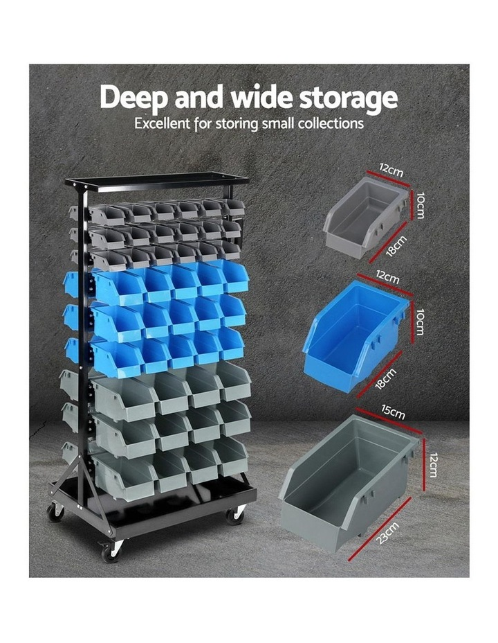 Giantz 90 Bins Storage Rack Warehouse Work Garage Tools Parts Shelving Wheels image 3