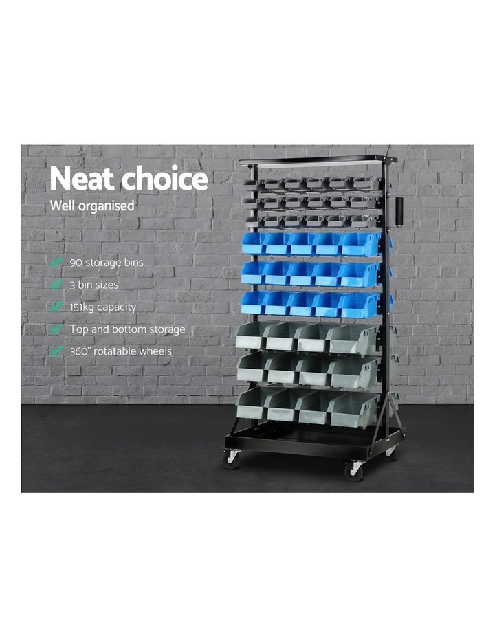 Giantz 90 Bins Storage Rack Warehouse Work Garage Tools Parts Shelving Wheels image 4