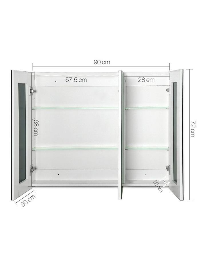 Bathroom Vanity Mirror with Storage Cabinet - White image 2