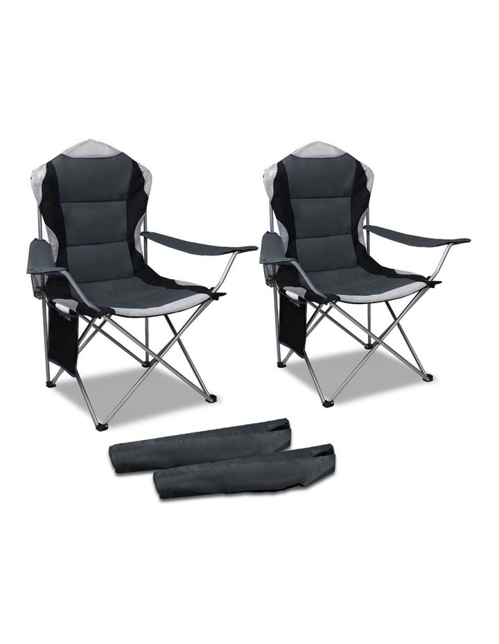 Set of 2 Portable Folding Camping Arm Chair - Grey image 1