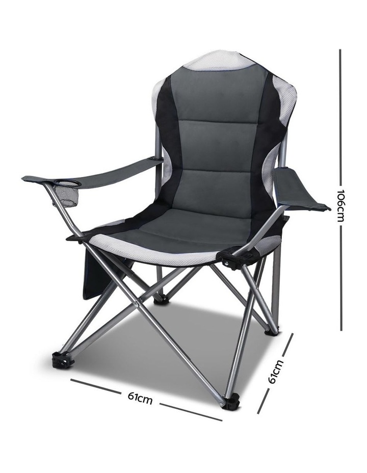 Set of 2 Portable Folding Camping Arm Chair - Grey image 2