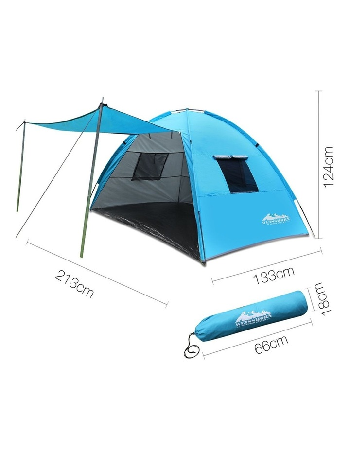 3-4 Person Camping Tent Beach Sun Shade Shelter w/ awning image 2