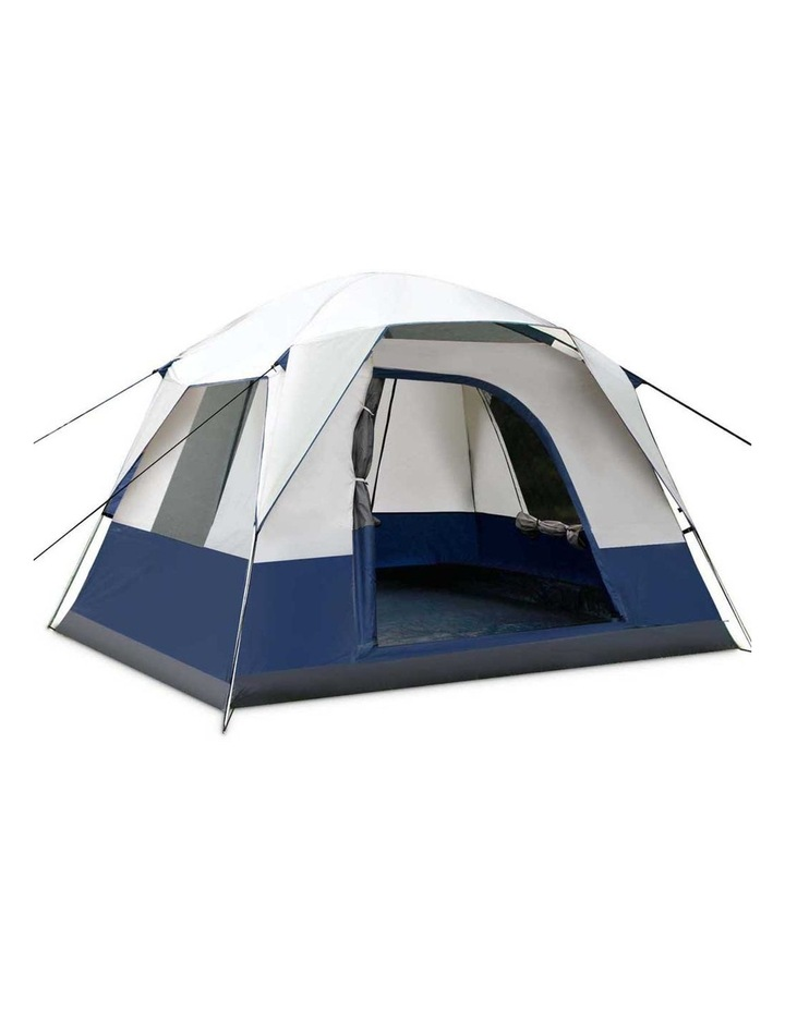 4 Person Canvas Camping Tent - Navy and Grey image 1