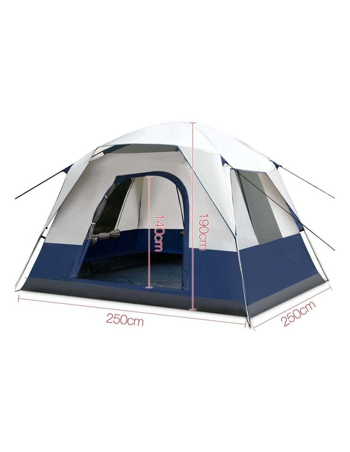 4 Person Canvas Camping Tent - Navy and Grey image 2