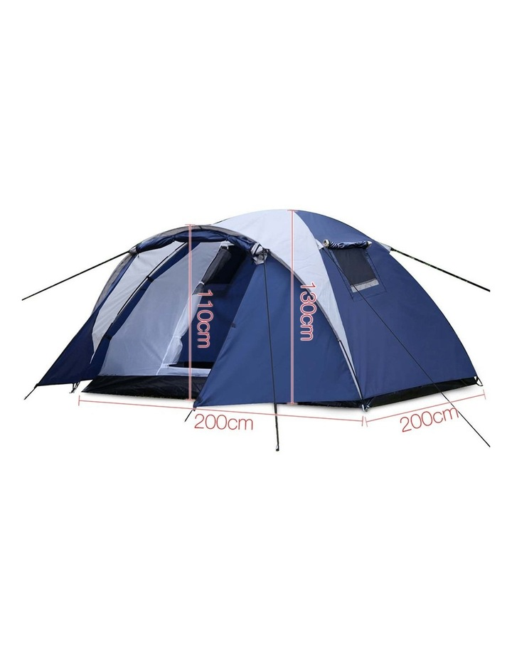 4 Person Canvas Dome Camping Tent - Navy and White image 2