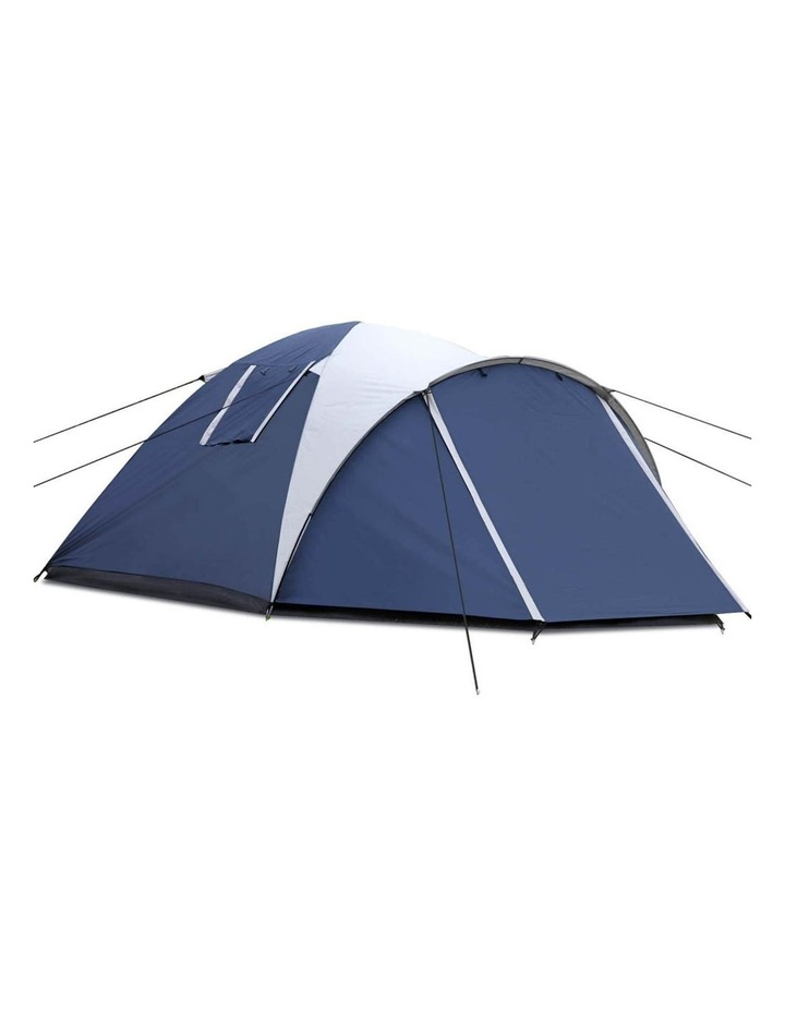 4 Person Canvas Dome Camping Tent - Navy and White image 3